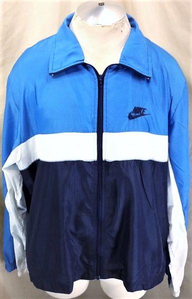 Vintage 90's Nike Blue Tag Active Wear (XL) Retro Zip Up Windbreaker Jacket
