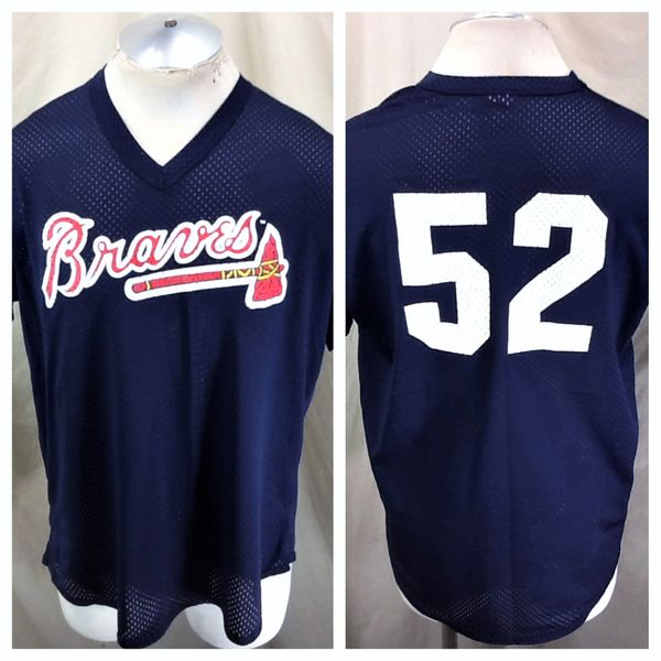 Vintage 90's Majestic Atlanta Braves #52 (XL) Retro MLB Baseball Graphic Nylon Blue Jersey