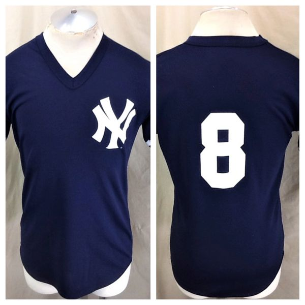 Vintage 90's Majestic New York Yankees #8 (Med) Retro MLB Baseball Graphic Blue Jersey