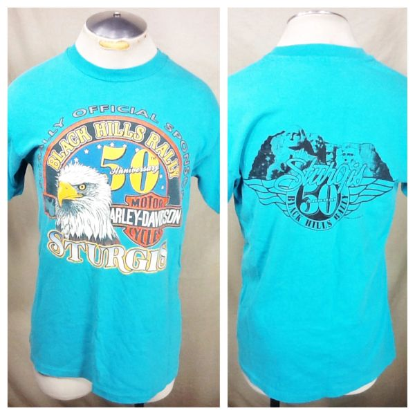 "Vintage 1990 Harley Davidson ""50th Annual"" (Large) Retro Sturgis Bike Festival Graphic T-Shirt"