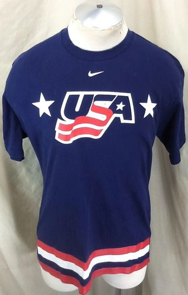 Vintage 2002 Nike Team USA Hockey (Med) Retro Salt Lake Olympic Games Blue T-Shirt