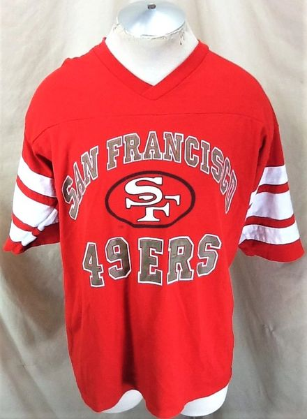 Vintage 90's Logo 7 San Francisco 49ers Football (XL) Retro NFL Classic Logo Graphic Red T-Shirt