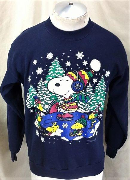 "Vintage 1985 Snoopy & Woodstock ""Ice Skating"" (Large) Retro Peanuts Crew Neck Sweatshirt"