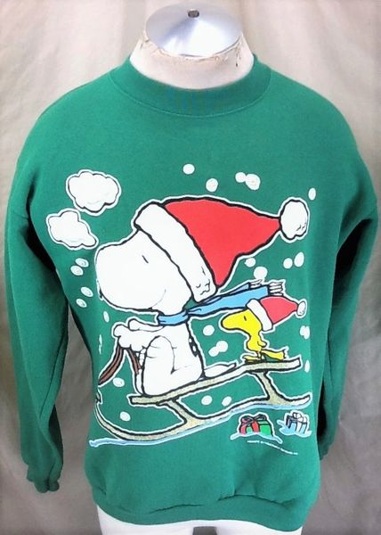"Vintage 90's Snoopy & Woodstock ""Sledding"" (Large) Peanuts Gang Graphic Christmas Sweatshirt"