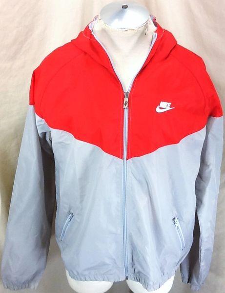 Vintage 90's Nike Red Tag Active Wear (XL) Retro Zip Up Hooded Windbreaker Jacket