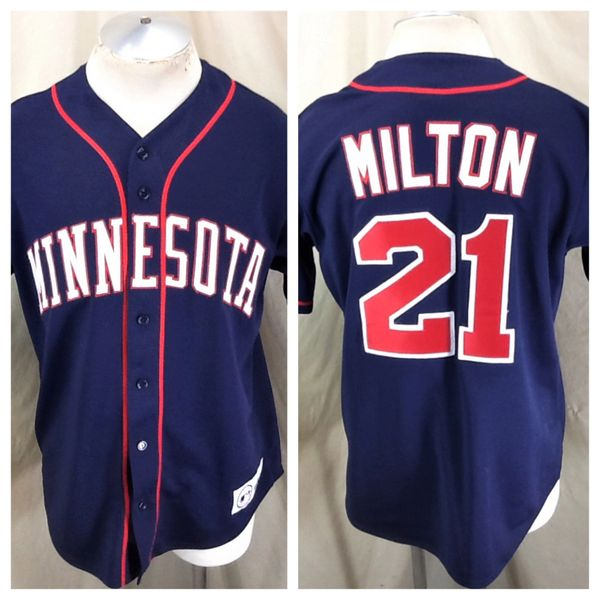 Vintage Majestic Minnesota Twins Eric Milton #21 (Med) Retro MLB Baseball Button Up Jersey