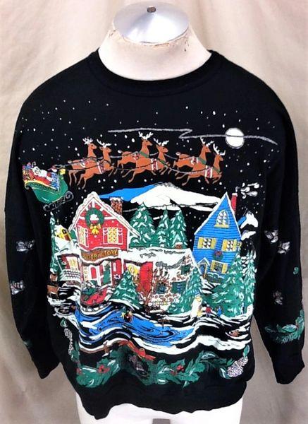 "Vintage 90's Christmas Scene ""Winter Wonderland"" (2XL) All Over Graphic Crew Neck Sweatshirt"