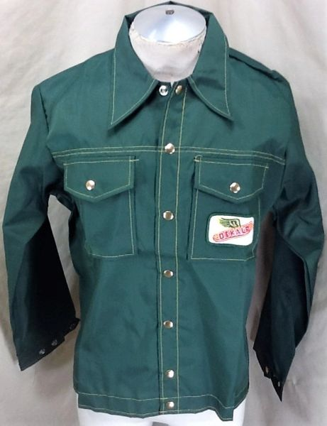 Vintage 1970's Swingster Dekalb Seed Company (Med) Snap Up Nylon Farming Jacket
