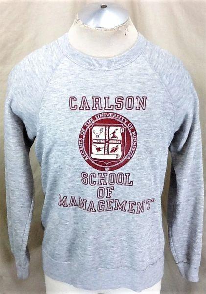 Vintage 80's Carlson School of Management (Large Short) Retro Crew Neck Sweatshirt Gray