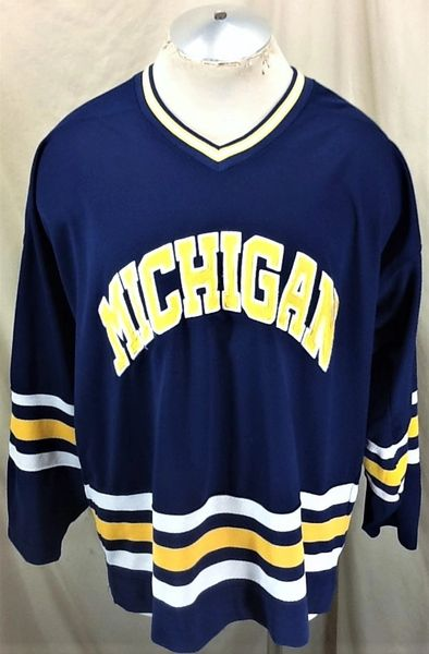 Vintage 90's Starter Michigan Wolverines (XL) Retro NCAA Knit Graphic Hockey Jersey