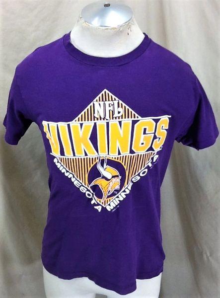 Vintage 1991 Minnesota Vikings Football (Med) Retro NFL Classic Logo Graphic Purple T-Shirt