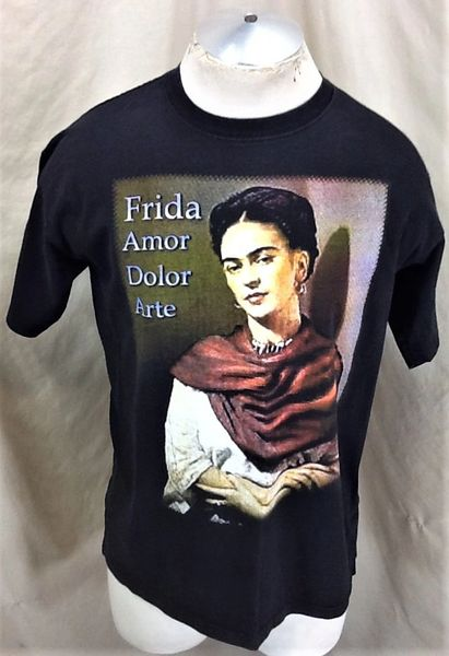 "Retro Frida Kahlo ""Amor Dolor Arte"" (Large) Iconic Mexican Artist Graphic T-Shirt"
