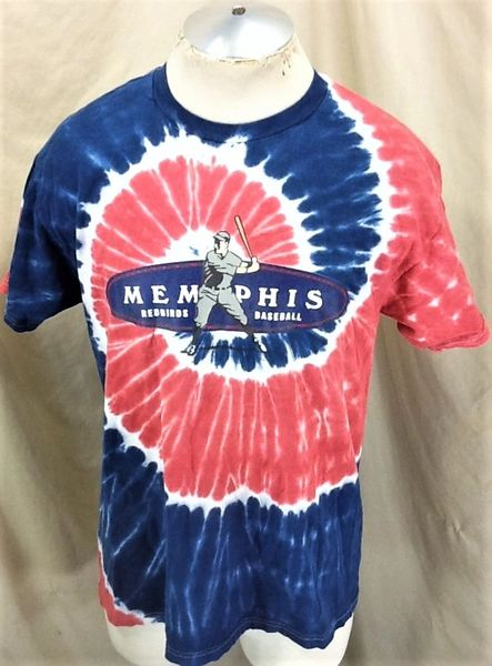 Vintage Memphis Redbirds Baseball (Large) Retro Cardinals Triple A Pro Ball Tie-Dye T-Shirt