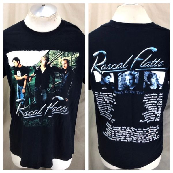 "Retro Rascal Flats ""Here's To You Tour"" (Large) Graphic Country Music T-Shirt"