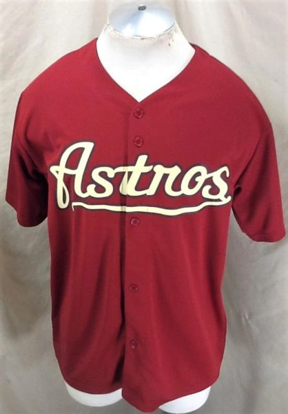 Retro Houston Astros Baseball Club (Large) MLB Promotional Button Up Graphic Red Jersey