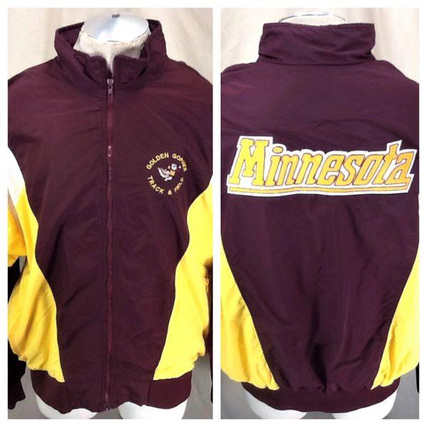 Vintage 80's Hooter Minnesota Golden Gophers (2XL) Retro NCAA Track & Field Zip Up Jacket