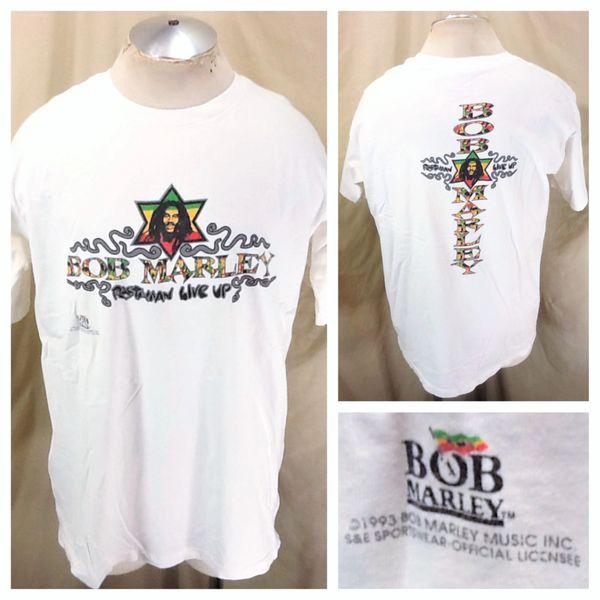 "Vintage 1993 Bob Marley ""Rastaman Live Up"" (XL) Reggae Music Icon Graphic T-Shirt White"