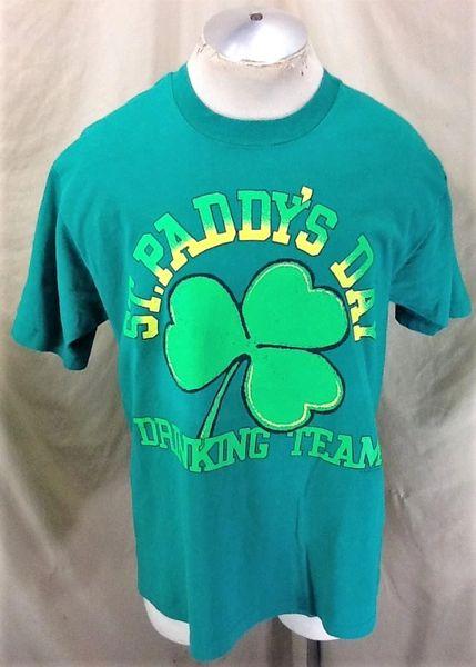 "Vintage 90's St. Paddy's Day ""Drinking Team"" (XL) Retro Irish Drinking T-Shirt"