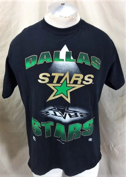 Vintage 1993 Starter Dallas Stars Hockey Club (Large) Retro NHL Graphic Black T-Shirt