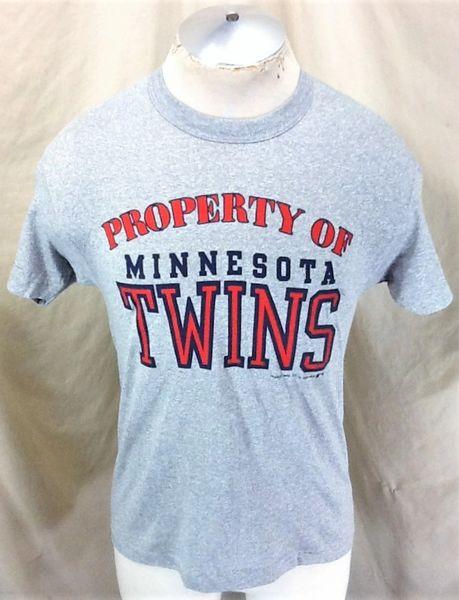 "Vintage 1987 Minnesota Twins ""Property Of"" (Small/Med) Retro MLB Baseball Graphic Gray T-Shirt"