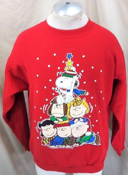 90s Christmas Tree.Vintage 90 S The Peanuts Gang Christmas Tree L Xl Retro Graphic Holiday Sweatshirt