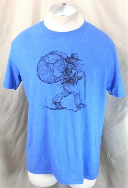 """Vintage 1982 Red Beard's Outfitter (Large) Retro """"World Traveler"""" Graphic T-Shirt"""