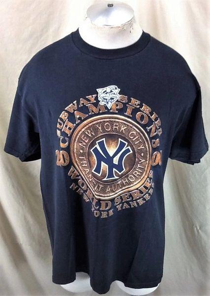 "Vintage 2000 New York Yankees Baseball (L/XL) Retro MLB ""Subway Series"" Graphic Faded Black T-Shirt"