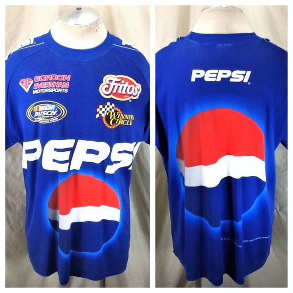 Vintage 1999 Chase Authentics NASCAR Motorsports (L/XL) Retro Pepsi All Over Graphic Racing T-Shirt