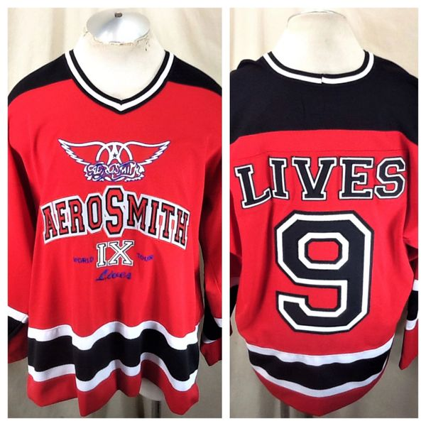 """Vintage Giant Aerosmith """"9 Lives World Tour"""" (XL) Pullover Knit Graphic Hockey Jersey"""