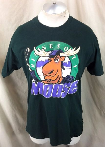 Vintage 90's Minnesota Moose Hockey (Large) Retro IHL League Graphic T-Shirt Brown