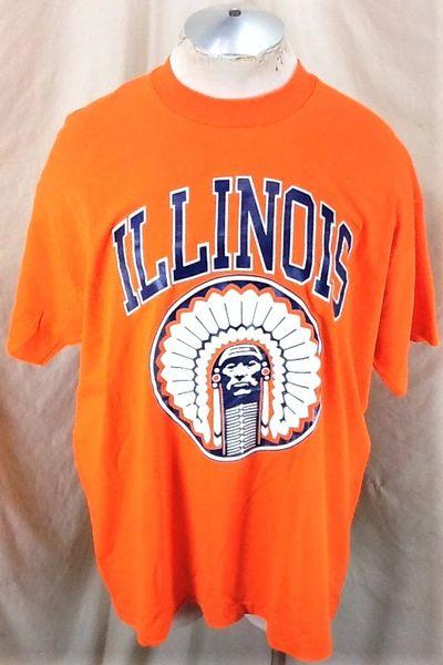 "Vintage 90's University of Illinois ""Chief Illiniwek"" (2XL) Retro NCAA Fighting Illini Graphic T-Shirt Orange"