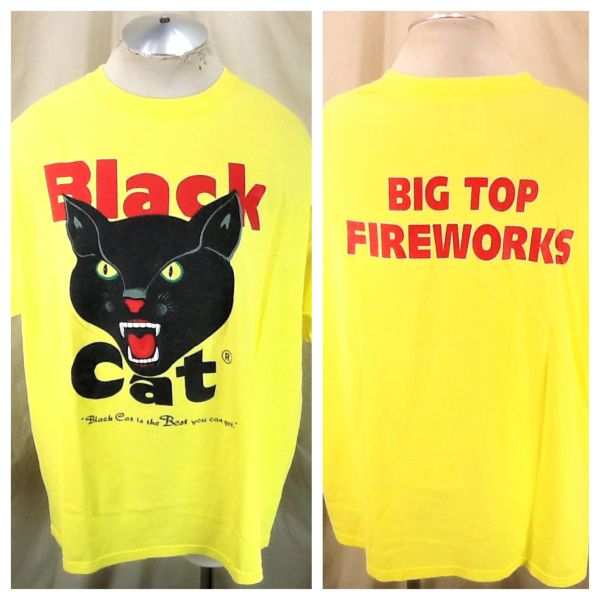"Vintage 90's Black Cat Fireworks (2XL) Retro ""Big Top Fireworks"" Graphic T-Shirt Yellow"