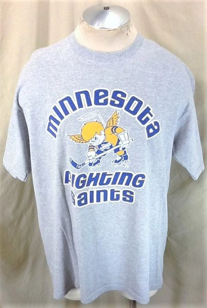 Retro Minnesota Fighting Saints (XL) Independent Hockey Graphic T-Shirt Gray