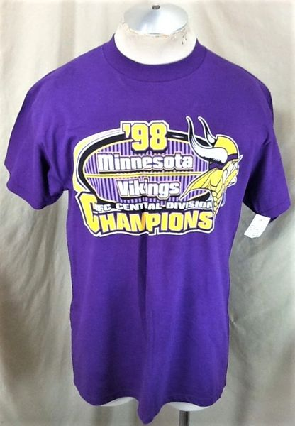 "New! Vintage 1998 Minnesota Vikings ""Division Champs"" (Large) Retro NFL Football Graphic Purple T-Shirt"