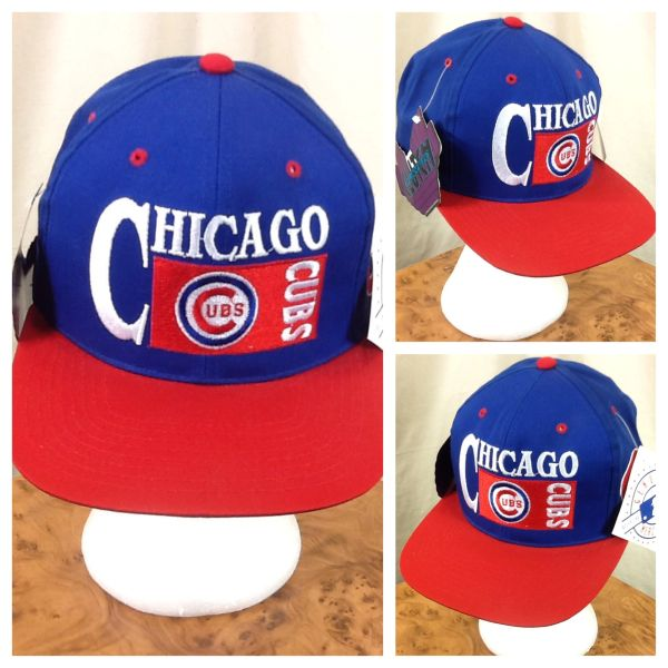 New! Vintage 90's Chicago Cubs MLB Baseball Club Retro Snap Back Hat Blue / Red