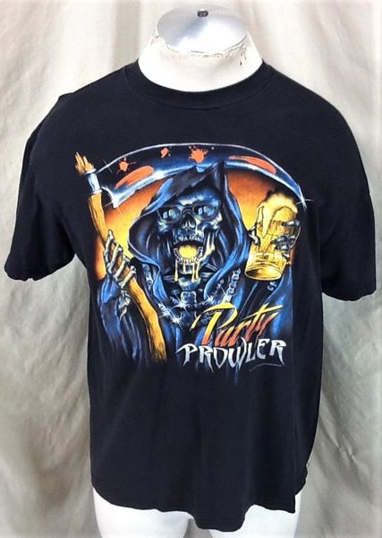 """Vintage 90's Grim Reaper """"Party Prowler"""" (Large) Retro Graphic Partying T-Shirt Black"""