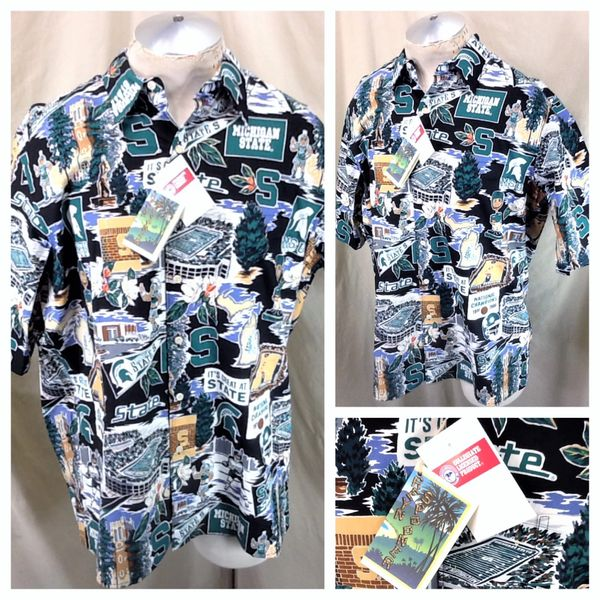 New! Vintage Reyn Spooner Michigan State Spartans (Large) Retro NCAA Button Up Hawaiian Shirt