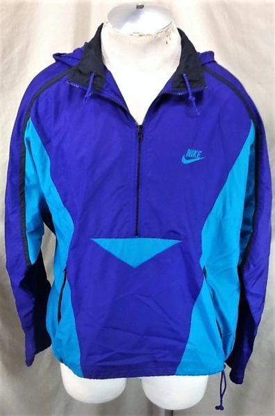 Vintage 90's Retro Nike Active Wear (Large/XL) 1/2 Zip Up Hooded Windbreaker Jacket