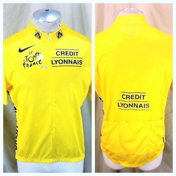 2005 Nike Cycling Team Tour De France (L/XL) Retro Credit Lyonnais Dri Fit Cycling Jersey