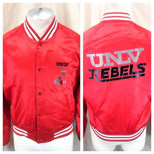 Vintage 80's Chalk Line UNLV Running Rebels (Large) Retro NCAA Snap Up Satin Jacket Red