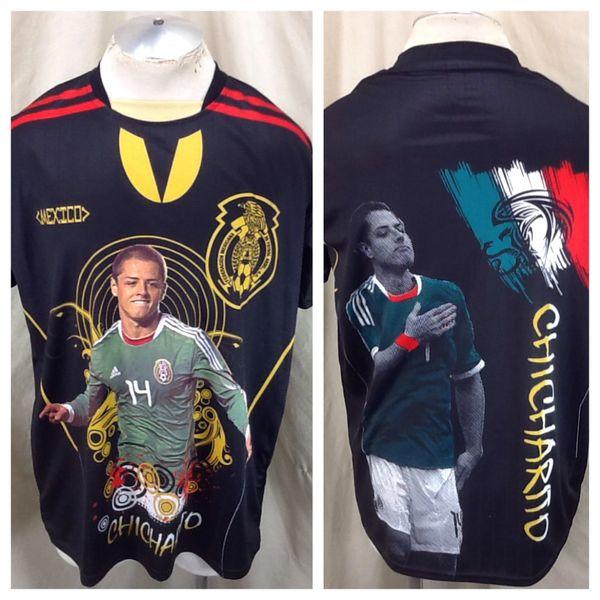 Javier Chicharito #14 Mexico Somos Guerreros (XL) Retro Soccer Futbol Graphic Black Jersey