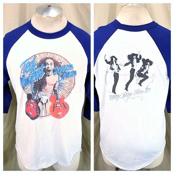 "Vintage 1980 Ted Nugent ""Wango Tango Tour"" (Large) Raglan Style Concert Band T-Shirt"