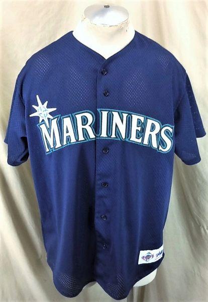 Vintage 90's Majestic Seattle Mariners Baseball (Large) Retro MLB Button Up Stitched Nylon Jersey