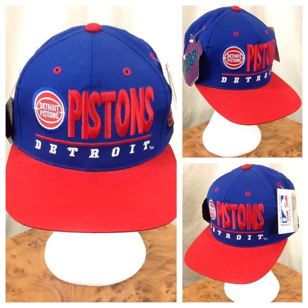 New! Vintage 90's Detroit Pistons NBA Basketball Club Retro Snap Back Hat Blue
