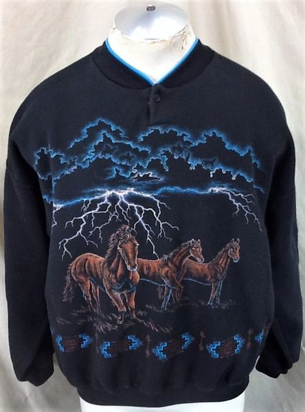 "Vintage 1994 Art Unlimited ""Horses & Lightning"" (XL Wide) Graphic Farming Sweatshirt"