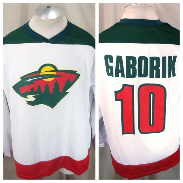 Vintage Minnesota Wild Marian Gaborik #10 (Large) NHL Hockey Polyester Jersey White