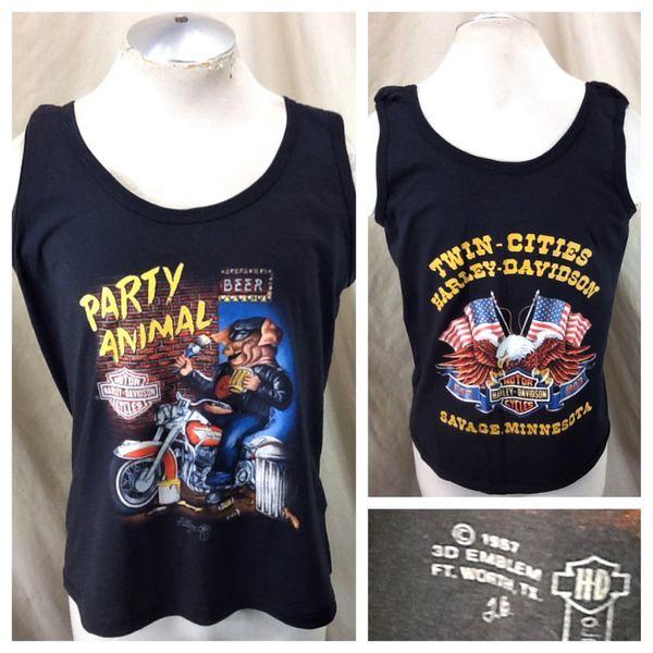 "Vintage 1987 3D Emblem Harley Davidson (Large) ""Party Animal"" Graphic Tank Top Shirt"
