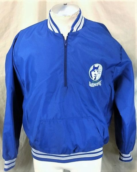 Vintage 80's Chalk Line Minnesota Timberwolves (Large) Pullover 1/2 Zip Wolves Nylon Jacket