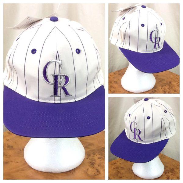 New! Vintage 90's Colorado Rockies Pinstripe Retro MLB Baseball Graphic Snap Back Hat