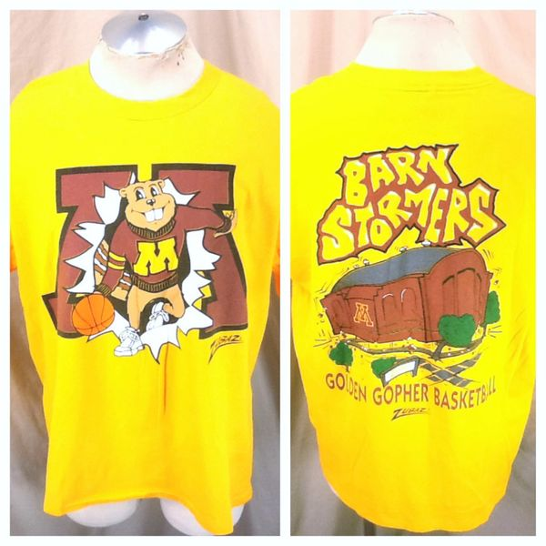 "Vintage 90's Zubaz Minnesota Gophers Basketball (XL) ""Barn Stormers"" Retro NCAA Graphic T-Shirt"